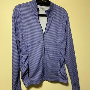 Xlg lavender zip up jacket with navy stripes